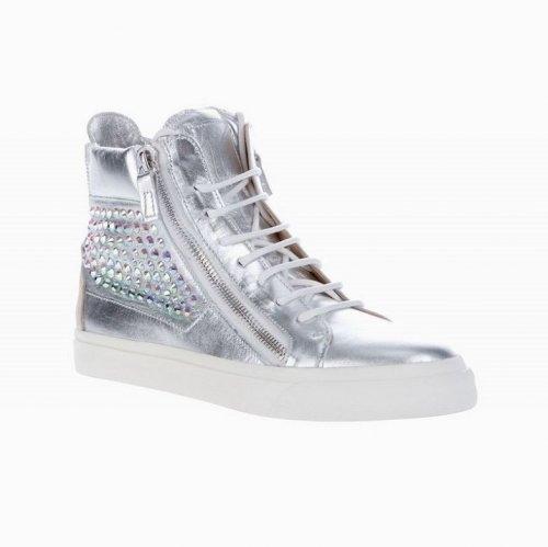 giuseppe zanotti design high top crystal panel sneaker silver rh giuseppe zanotti us com